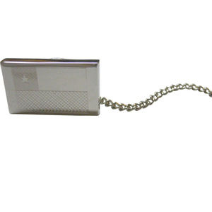 Silver Toned Etched Chile Flag Tie Tack